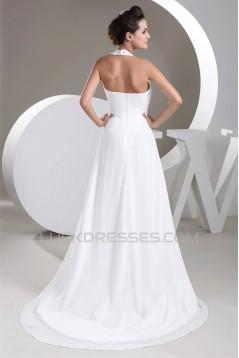 A-Line Chiffon Halter Sleeveless Beaded Wedding Dresses 2030800