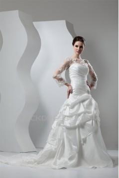 New Style A-Line Long Sleeve Lace Taffeta Sheer Sweet Wedding Dresses 2030801