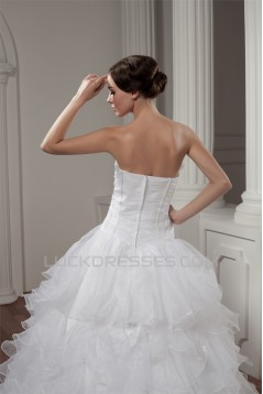 New Style A-Line Sleeveless Satin Strapless Wedding Dresses 2030802