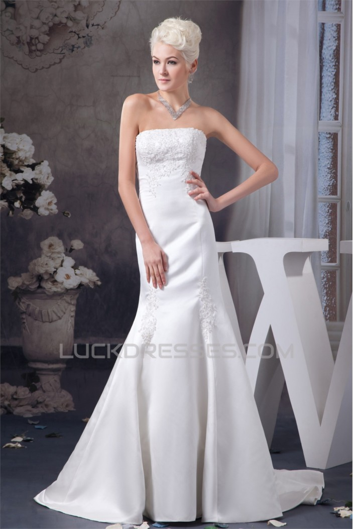 New Style Trumpet/Mermaid Sleeveless Strapless Lace Wedding Dresses 2030803
