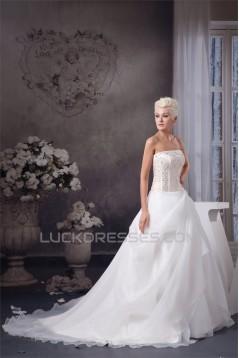 New Style Satin Strapless Sleeveless A-Line Beaded Wedding Dresses 2030805