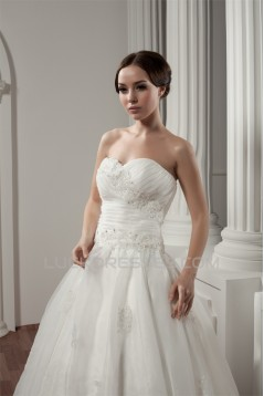 New Style Sweetheart Sleeveless A-Line Satin Lace Wedding Dresses 2030806