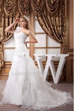 A-Line One-Shoulder Satin Organza Sleeveless Best Wedding Dresses 2030808
