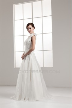 A-Line One-Shoulder Beaded Sleeveless Wedding Dresses 2030809