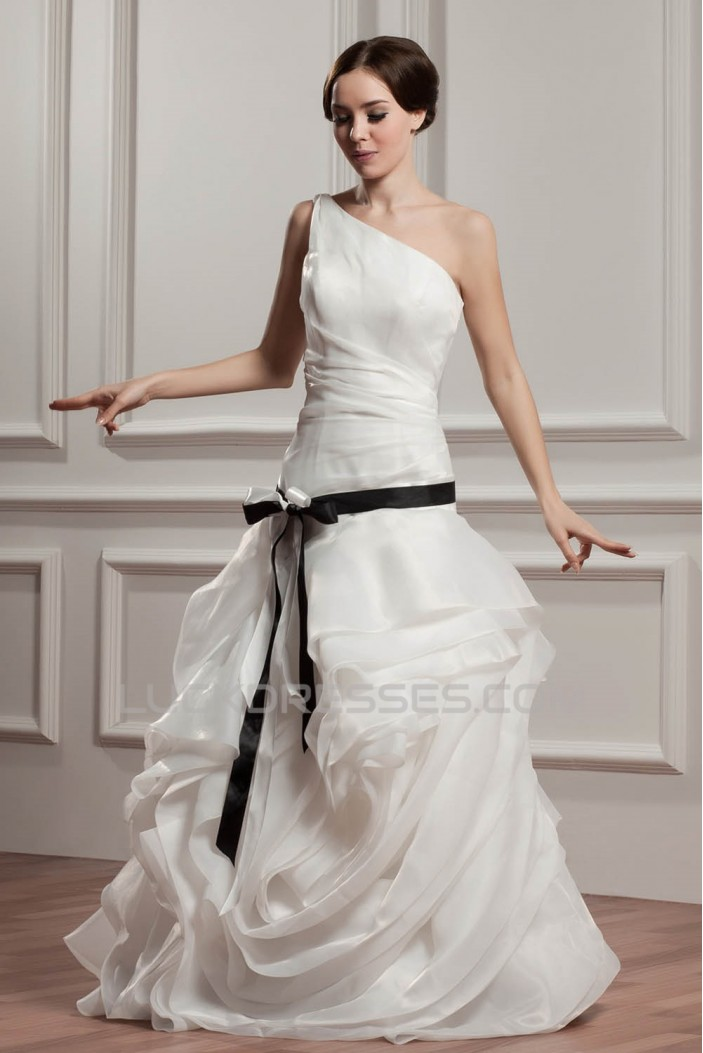 One-Shoulder A-Line Sleeveless Floor-Length Wedding Dresses 2030810