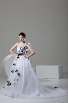 One-Shoulder A-Line Sleeveless Satin Fine Netting Sweet Wedding Dresses 2030811