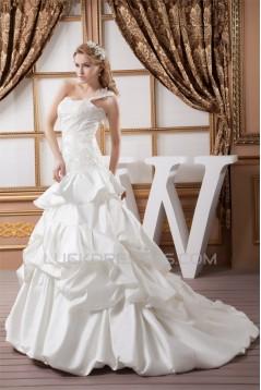 One-Shoulder A-Line Sleeveless Satin Lace Wedding Dresses 2030812