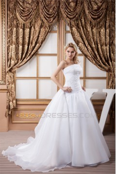 One-Shoulder A-Line Sleeveless Most Beautiful Wedding Dresses 2030814