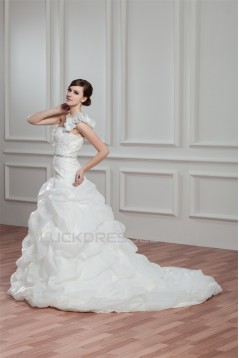 A-Line Satin Organza One-Shoulder Sleeveless Beaded Wedding Dresses 2030815