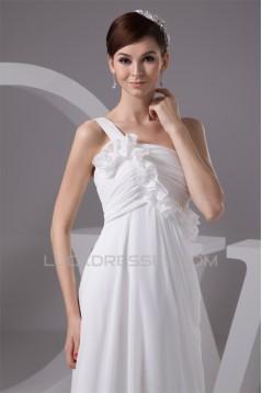 Empire One-Shoulder Sleeveless Chiffon Floor-Length Wedding Dresses Maternity Wedding Dresses 2030816