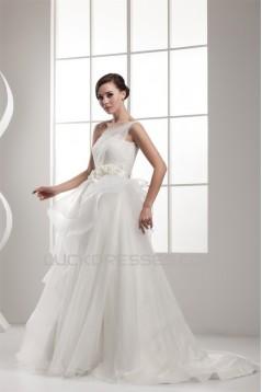 One-Shoulder Sleeveless Satin A-Line Lace Wedding Dresses 2030817