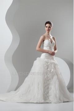 Organza Taffeta Ball Gown Sweetheart Sleeveless Wedding Dresses 2030818