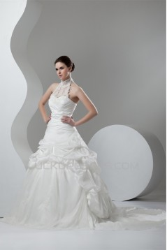 Organza Taffeta Lace High-Neck Ball Gown Sleeveless Wedding Dresses 2030819