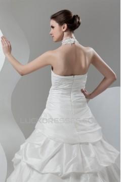 Organza Taffeta Lace High-Neck Ball Gown Sleeveless Wedding Dresses 2030819