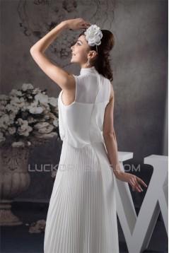 Pleats Floor-Length Sleeveless A-Line High-Neck Chiffon Wedding Dresses 2030820