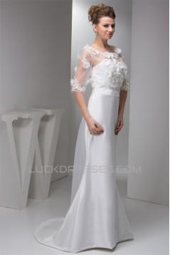 Portrait 3/4 Length Sleeve Satin Taffeta Fine Netting New Arrival Wedding Dresses 2030821