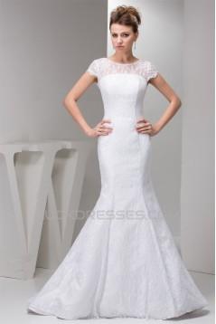 Portrait Satin Lace Mermaid/Trumpet Sleeveless Sweet Wedding Dresses 2030822
