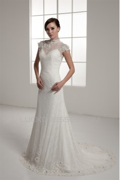 Portrait Sleeveless A-Line Lace Silk like Satin Fine Netting New Arrival Wedding Dresses 2030823