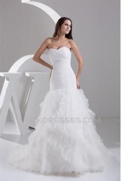 Princess Satin Fine Netting Sweetheart Sleeveless Wedding Dresses 2030824