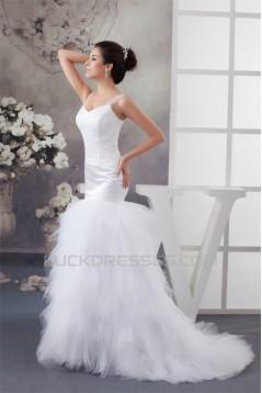 Princess Sleeveless Satin Fine Netting Lace Straps Wedding Dresses 2030825