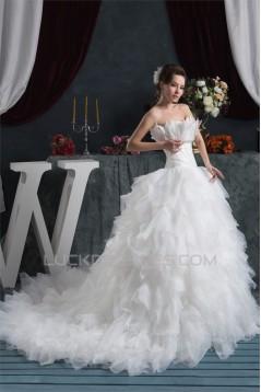 Princess Sleeveless Ball Gown Satin Organza Strapless Wedding Dresses 2030826