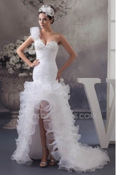 A-Line Asymmetrical Sleeveless One-Shoulder Beading Wedding Dresses 2030829
