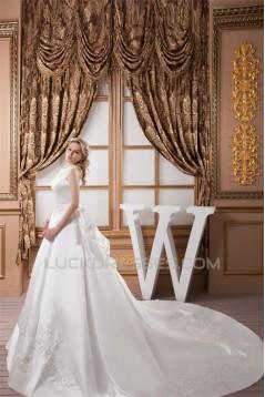 A-Line High-Neck Sleeveless Satin Most Beautiful Wedding Dresses 2030830