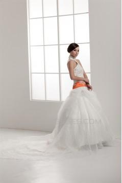 Satin Elastic Woven Satin Sleeveless High-Neck Wedding Dresses 2030834