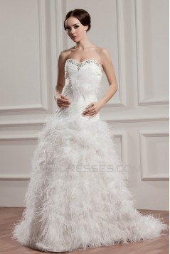 Satin Fine Netting A-Line Sleeveless Sweetheart Wedding Dresses 2030835
