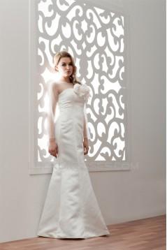 Satin Fine Netting Long Sleeve Bateau Mermaid/Trumpet Wedding Dresses 2030838