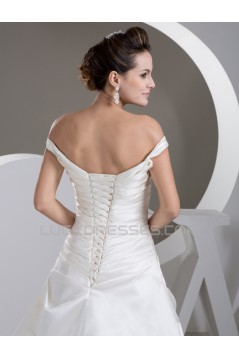 A-Line Satin Fine Netting Off-the-Shoulder New Arrival Wedding Dresses 2030839