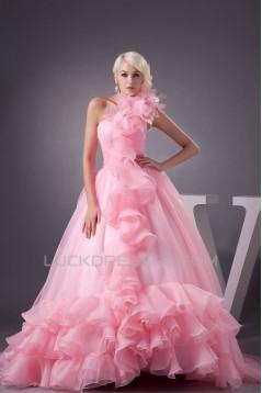 Satin Fine Netting One-Shoulder A-Line Sleeveless Pink Wedding Dresses 2030840