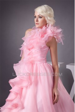 Satin Fine Netting One-Shoulder A-Line Sleeveless Pink Wedding Dresses 2030840