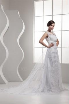 A-Line Satin Fine Netting Beaded Lace Sleeveless Straps Wedding Dresses 2030841
