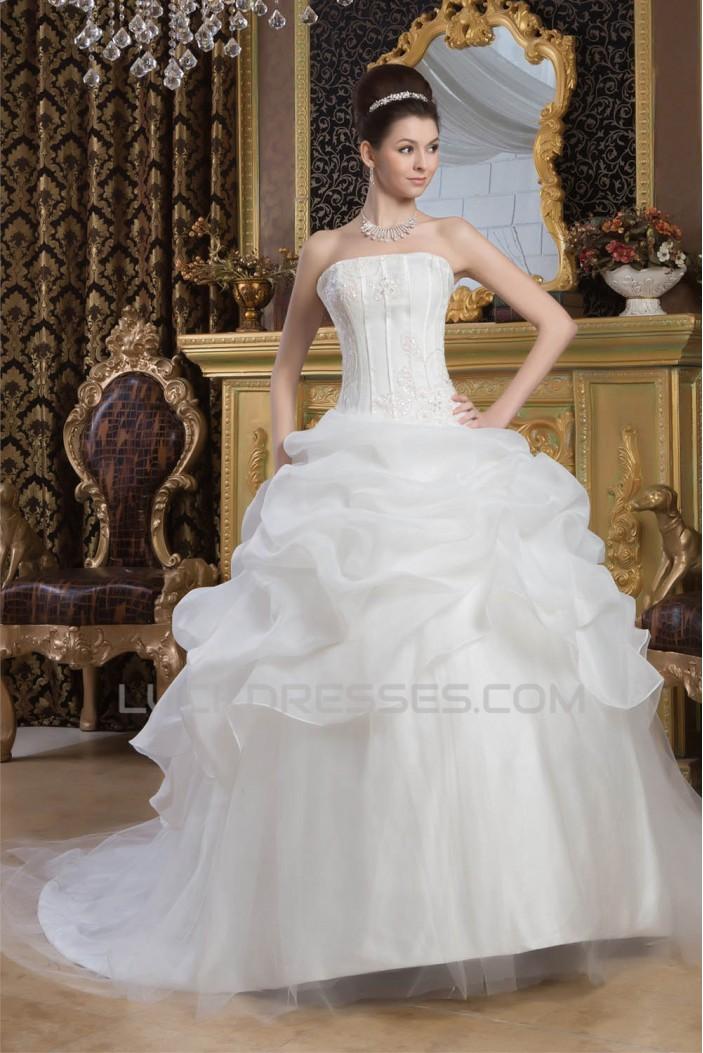 Satin Fine Netting Strapless Ball Gown Sleeveless Wedding Dresses 2030842