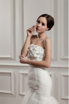 Satin Fine Netting Strapless Mermaid/Trumpet Sweet Wedding Dresses 2030843