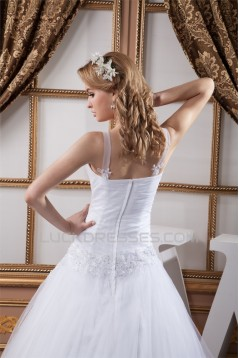 Satin Fine Netting Sweetheart Lace A-Line Wedding Dresses 2030845