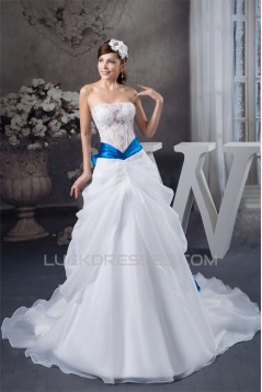 Satin Fine Netting Sweetheart A-Line Sleeveless Lace Wedding Dresses with Color 2030846