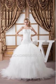 Satin Fine Netting Sweetheart Ball Gown Beaded Wedding Dresses 2030847