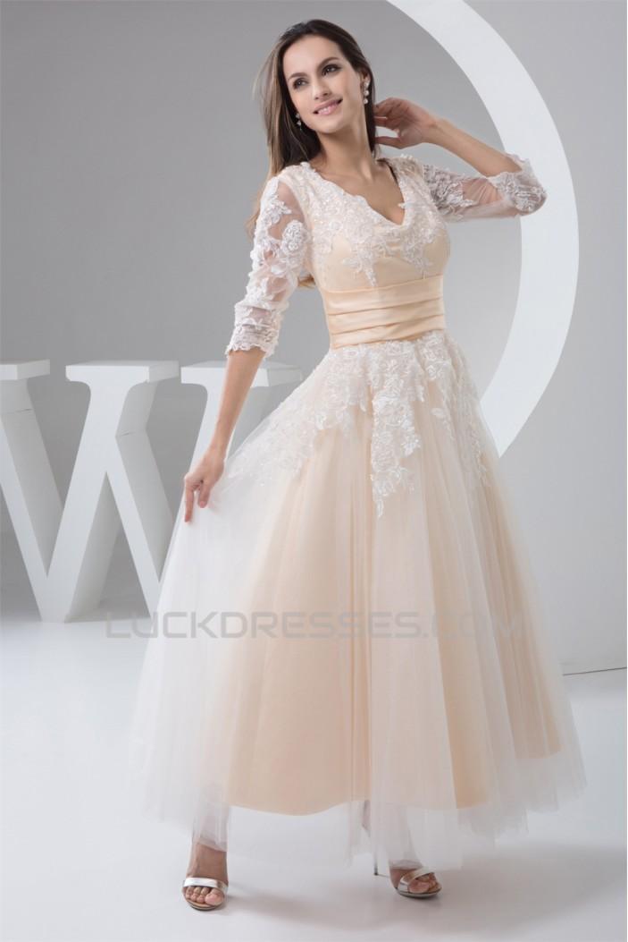 A-Line Satin Lace 3/4 Length Sleeve V-Neck Lace Reception Wedding Dresses 2030848