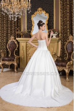 Satin Lace A-Line Strapless Sleeveless Most Beautiful Wedding Dresses 2030849