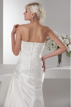 Sheath/Column Satin Lace Fine Netting Soft Wedding Dresses 2030850