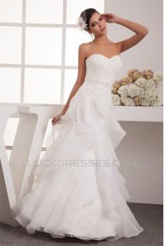 Satin Lace Organza Sweetheart Sleeveless Wedding Dresses 2030851
