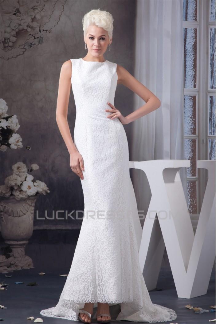 Satin Lace Portrait Mermaid/Trumpet Sleeveless Wedding Dresses 2030852