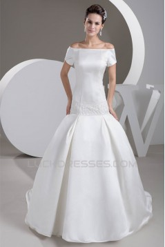 Satin Square Sleeveless A-Line Beaded Off-the-Shoulder Wedding Dresses 2030853