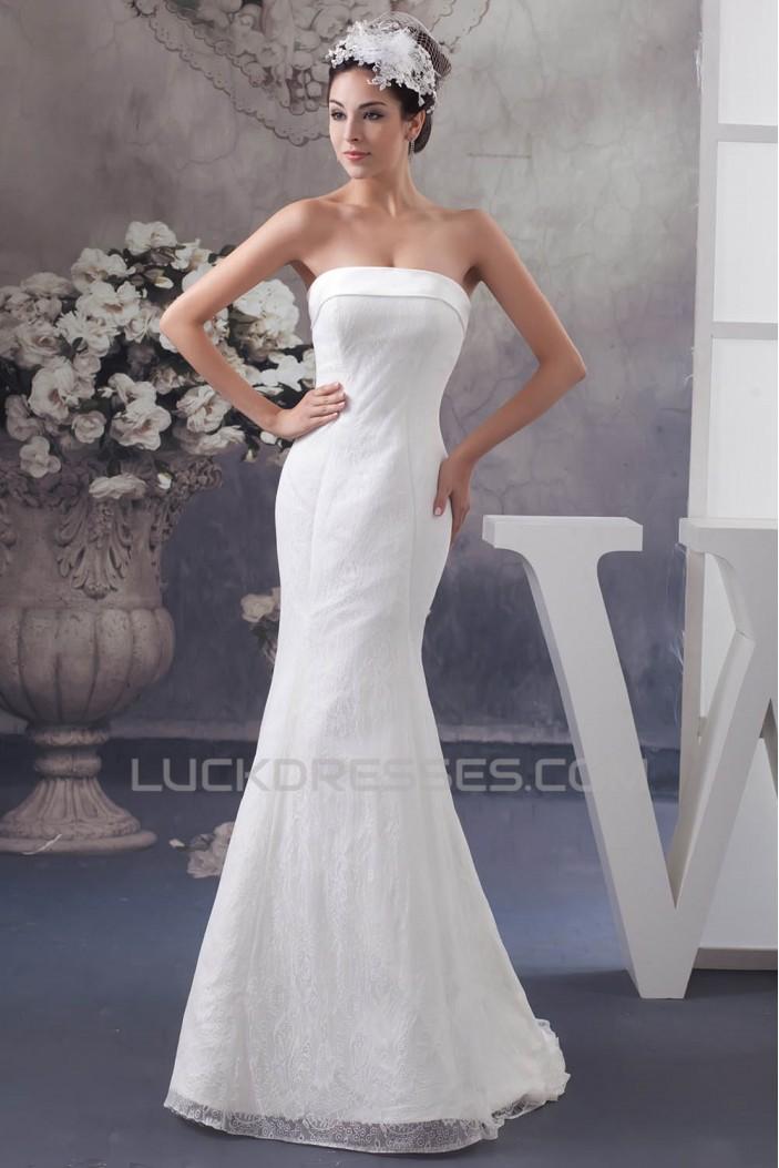 Satin Lace Strapless Mermaid/Trumpet Sleeveless Wedding Dresses 2030854
