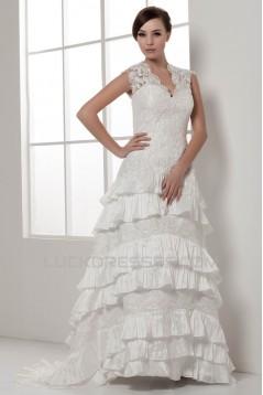 Satin Lace Taffeta Sleeveless A-Line V-Neck New Arrival Wedding Dresses 2030856