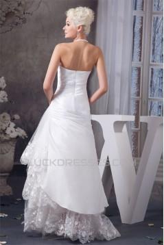 Satin Lace Taffeta Halter Sleeveless Wedding Dresses 2030857