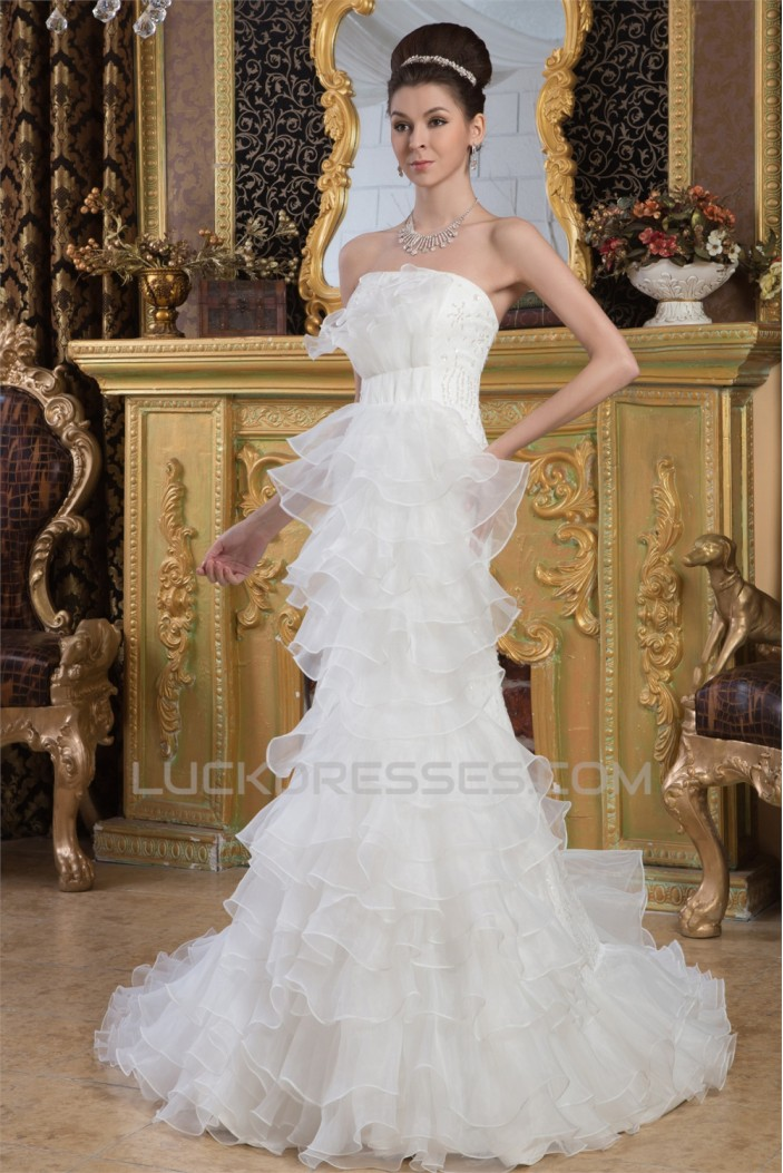 Satin Mermaid/Trumpet Sleeveless Strapless Beaded Lace Wedding Dresses 2030858