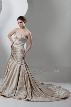 A-Line Satin Sleeveless Strapless Lace Wedding Dresses 2030859